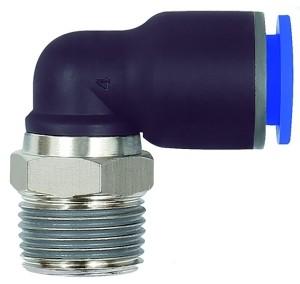 ID: 135640 - L-Steckverschraubung »Blaue Serie«, drehbar, R 3/8 außen, Ø 14 mm