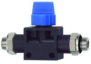 ID: 110102 - 3/2-Wegeventil »Blaue Serie«, AG/AG G 1/4, Kunststoff/MS vern.