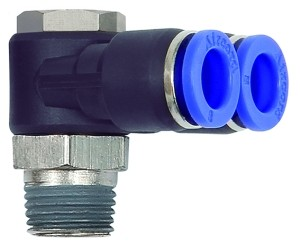 ID: 135657 - Y-Winkelsteckverschraubung »Blaue Serie«, drehbar, R 1/4 a. Ø10mm