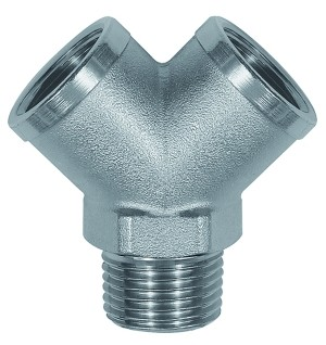 ID: 112598 - Verteiler, 2fach, R 3/8 AG, Abgänge 2 x G 3/8 IG, Messing vern.