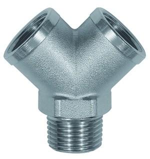 ID: 112599 - Verteiler, 2fach, R 1/2 AG, Abgänge 2 x G 1/2 IG, Messing vern.