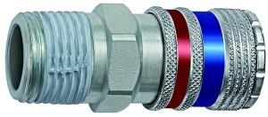 ID: 107589 - Sicherheitskupplung NW 7,6, Stahl/Messing verzinkt, R 1/4 AG