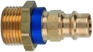 ID: 107689 - Unverwechselbarer Nippel NW 7,8, Messing blank, G 1/4 AG, blau