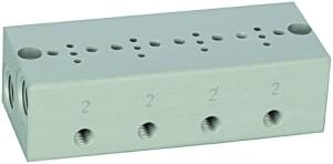 ID: 106653 - Reihengrundplatte 4-fach, M5 für Mini-Magnetventile 15 mm