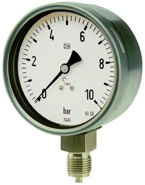 ID: 102503 - Manometer, CrNi-Stahl, G 1/2 radial unten, 0 - 1,0 bar, Ø 160
