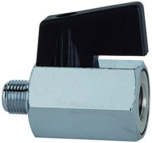 ID: 103343 - Mini-Kugelhahn, glatte Oberfläche, MS vern., G 1/8 IG/AG, DN 8
