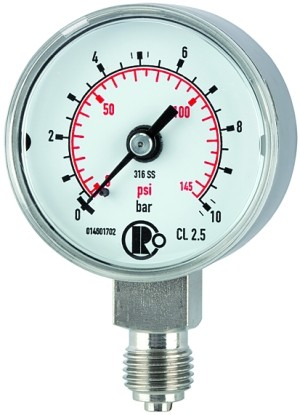 ID: 102411 - Standardmanometer, CrNi-Stahl, G 1/4 unten, 0 - 10,0 bar, Ø 40