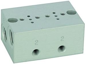 ID: 106651 - Reihengrundplatte 2-fach, M5 für Mini-Magnetventile 15 mm