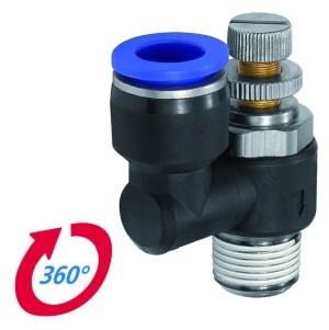 ID: 136027 - Drosselrückschlagven »Blaue Serie« Abluftdros. R1/4 a. ger. Ø10mm