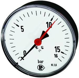 ID: 102009 - Standardmanometer, Stahlblech, G 1/4 hinten zentr., 0-1,6 bar, Ø 100