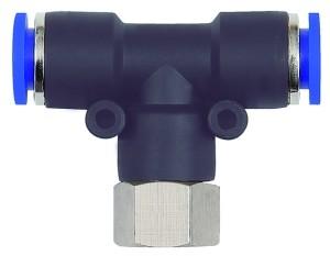 ID: 109515 - T-Steckverschraubung »Blaue Serie«, drehbar, G 1/4 innen, Ø 6 mm