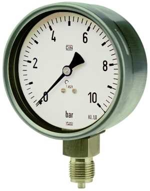 ID: 102492 - Manometer, CrNi-Stahl, G 1/2 radial unten, 0 - 1,6 bar, Ø 100