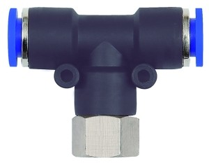 ID: 109516 - T-Steckverschraubung »Blaue Serie«, drehbar, G 1/4 innen, Ø 8 mm