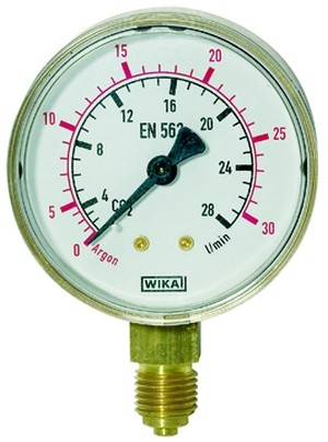 ID: 101293 - Manometer Argon, G 1/4 radial unten, 0 - 30 l/min (10 bar), Ø 63