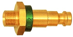 ID: 107645 - Unverwechselbarer Nippel NW 5, Messing blank, G 1/8 AG, grün