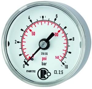 ID: 102444 - Standardmanometer CrNi-Stahl, G 1/4 hinten zentr., 0 - 10,0 bar, Ø 50