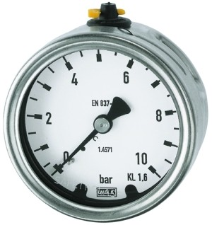ID: 102507 - Manometer, CrNi-Stahl, G 1/4 hinten zentrisch, -1 / 0,0 bar, Ø 63