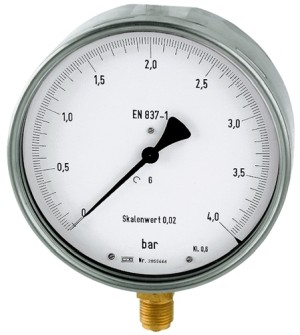 ID: 102566 - Feinmessmanometer, G 1/2 radial unten, 0 - 1,6 bar, Ø 160