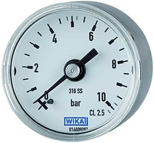 ID: 101189 - Manometer Ø 40 mm, G 1/8 rückseitig, Messber. 0 - 2,5 bar, V4A