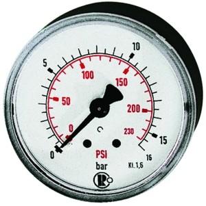 ID: 101533 - Standardmanometer Kunststoff, G 1/8 hinten, 0 - 6,0 bar/86 psi, Ø 40
