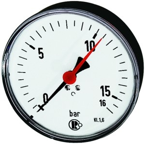 ID: 102010 - Standardmanometer, Stahlblech, G 1/4 hinten zentr., 0-2,5 bar, Ø 100