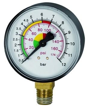 ID: 136797 - Manometer ø 63 mm, ungeeicht, Anschluss unten