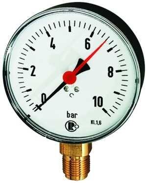 ID: 101980 - Standardmanometer, Kunststoffgeh., G 1/2 unten, 0-160,0 bar, Ø100