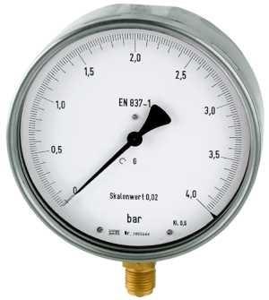ID: 102562 - Feinmessmanometer, G 1/2 radial unten, -1 / +0,6 bar, Ø 160