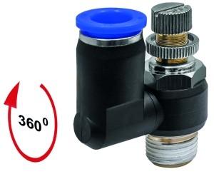 ID: 153628 - Drosselrückschlagven »Blaue Serie«, Zuluftdros., M5 a. 10bar Ø4mm