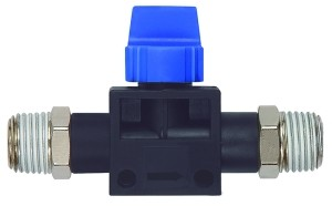 ID: 110105 - 3/2-Wegeventil »Blaue Serie«, AG/AG R 1/4, Gewindebeschichtung