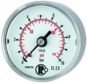 ID: 102434 - Standardmanometer CrNi-Stahl, G 1/4 hinten zentr., 0 - 16,0 bar, Ø 40