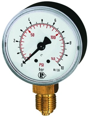 ID: 101661 - Standardmanometer Kunststoff, G 1/4 unten, 0 - 10,0 bar/145 psi, Ø 50